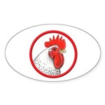 Rooster Circle Oval Sticker (10 pk)