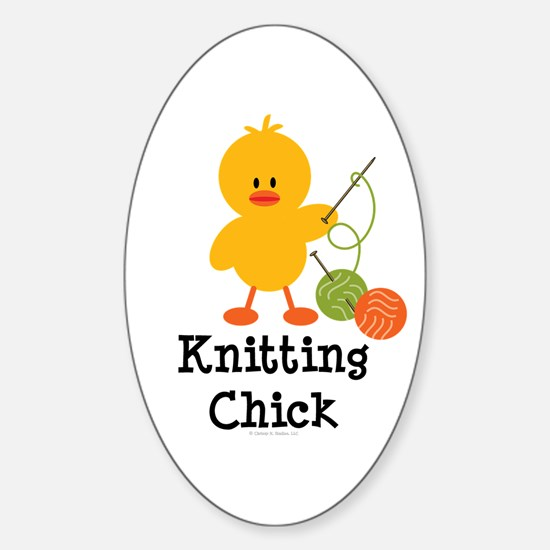Knitting Chick Oval Decal