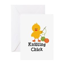 Knitting Chick Greeting Card