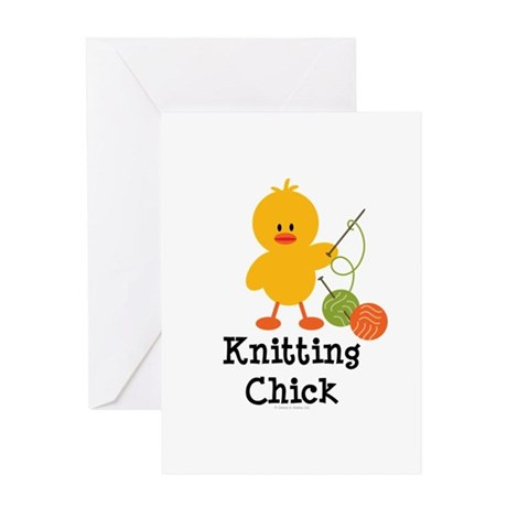 Knitting Chick Greeting Card