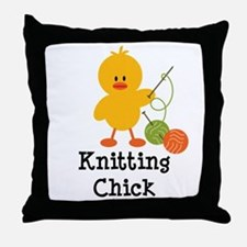 Knitting Chick Throw Pillow