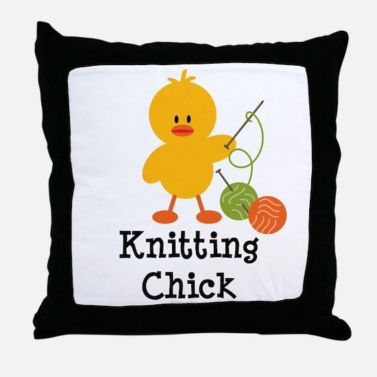 Knitting Chick Throw Pillow