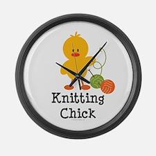 Knitting Chick Large Wall Clock