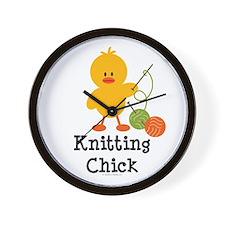 Knitting Chick Wall Clock