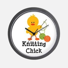 Knitting Chick Wall Clock
