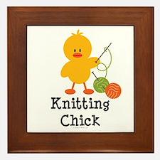 Knitting Chick Framed Tile