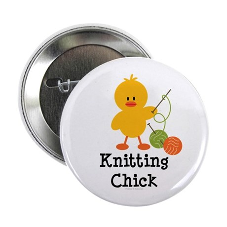 """Knitting Chick 2.25"""" Button (10 pack)"""
