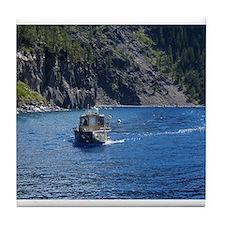 Crater Lake Boat Tile Coaster
