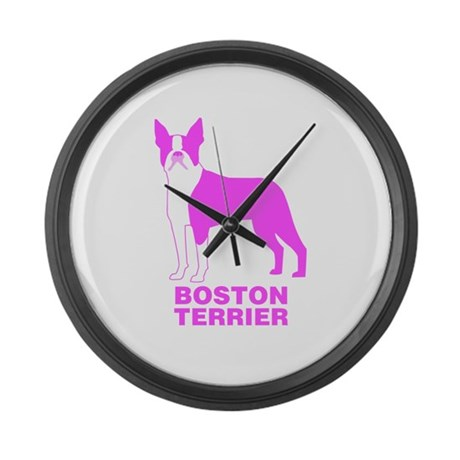 Pink Boston Terrier Large Wall Clock