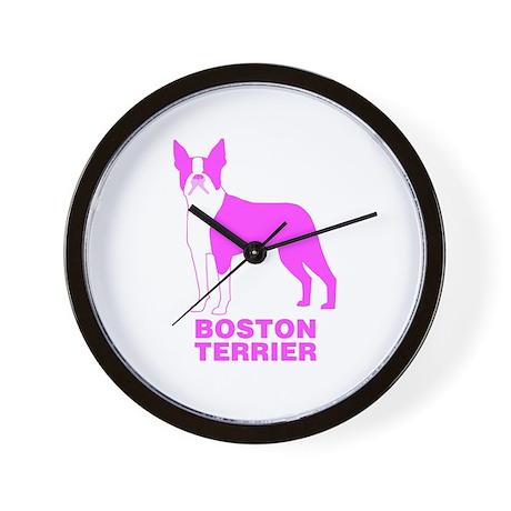 Pink Boston Terrier Wall Clock