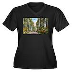 Echo Trail Women's Plus Size V-Neck Dark T-Shirt