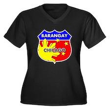 Barangay Chicago Women's Plus Size V-Neck Dark T-S