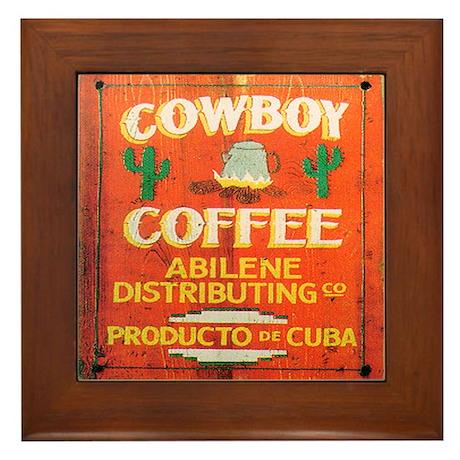 Cowboy Coffee Art Framed Tile