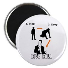 """Stop, Drop, Rick Roll"" 2.25"" Magnet (10 pack)"