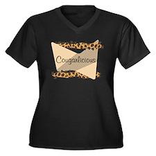 Cougarlicious Women's Plus Size V-Neck Dark T-Shir
