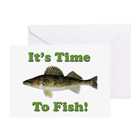 Genuine walleye it 39 s time to fish greeting card by for Best time to fish for walleye