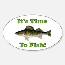 """Genuine Walleye """"It's Time to Fish"""" Oval Decal"""