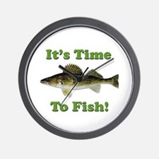 """Genuine Walleye """"It's Time to Fish"""" Wall Clock"""