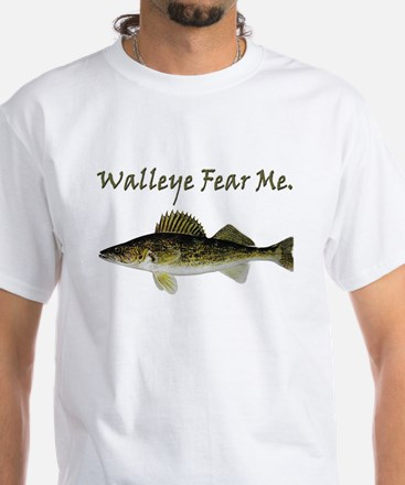 Walleye Fear Me White T-Shirt