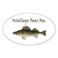Walleye Fear Me Oval Decal