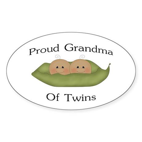 Proud Grandma Of Twins Oval Sticker