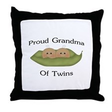 Proud Grandma Of Twins Throw Pillow