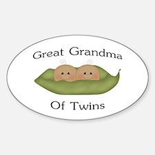 Great Grandma Of Twins Oval Decal