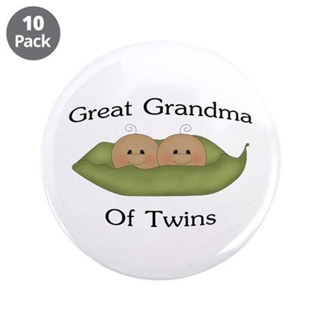 """Great Grandma Of Twins 3.5"""" Button (10 pack)"""
