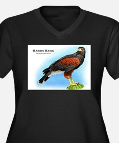 Harris Hawk Women's Plus Size V-Neck Dark T-Shirt