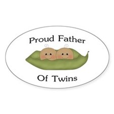 Proud Father Of Twins Oval Decal
