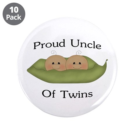 """Proud Uncle Of Twins 3.5"""" Button (10 pack)"""