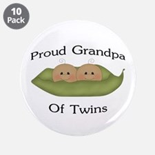 """Proud Grandpa Of Twins 3.5"""" Button (10 pack)"""