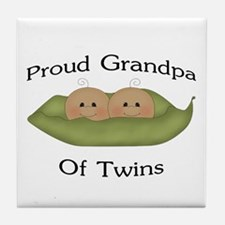 Proud Grandpa Of Twins Tile Coaster