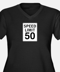 Speed Limit 50 Women's Plus Size V-Neck Dark T-Shi