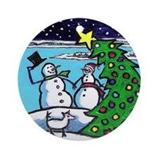 Harbor Springs Snowman Holiday Ornament (Round)