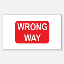 Wrong Way Sign Rectangle Decal