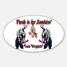 Vegan Zombies Oval Decal
