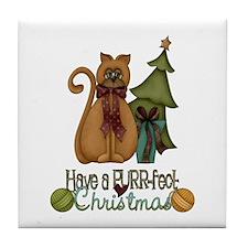 Kitty Purrfect Christmas Tile Coaster