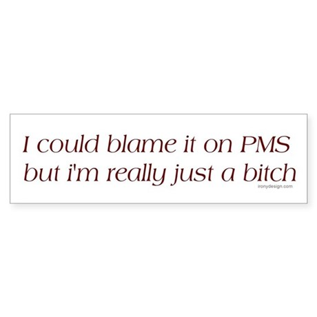 I could blame it on PMS.. Bumper Sticker