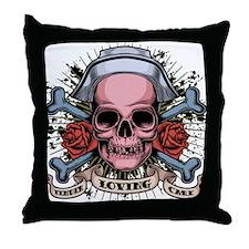 TLC Nurse Skull Throw Pillow