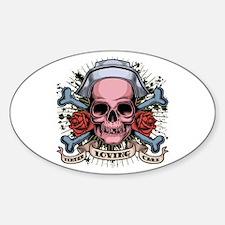 TLC Nurse Skull Oval Decal