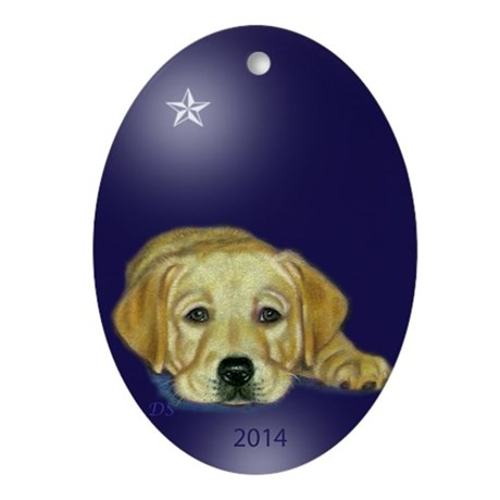 Yellow Pup 1st Xmas Oval Ornament