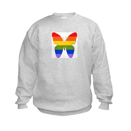 Rainbow Butterfly Kids Sweatshirt