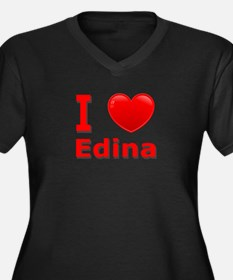 I Love Edina Women's Plus Size V-Neck Dark T-Shirt