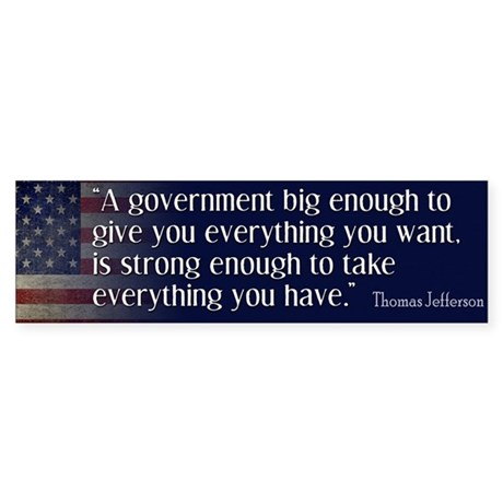 Jefferson: government big enough to... Sticker (Bu
