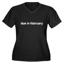 Due in February Women's Plus Size V-Neck Dark T-Sh