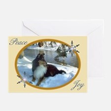 Winter River Sheltie Greeting Cards (Pk of 20)