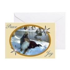 Winter River Sheltie Greeting Cards (Pk of 10)