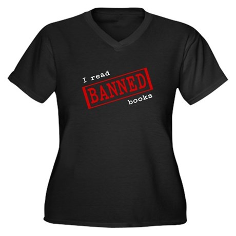 Banned Books Women's Plus Size V-Neck Dark T-Shirt