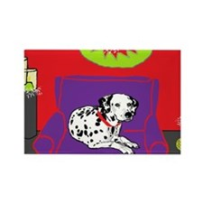 Spotted Dog Holiday Rectangle Magnet